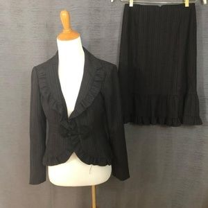 Pinstripe Ruffle Skirt Suit